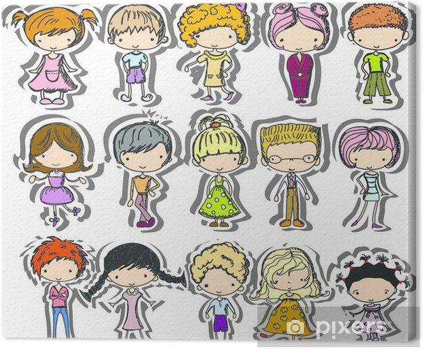 Leinwandbild Мультфильм рисунки модных детей - Fashion