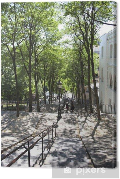 Leinwandbild パ リ モ ン マ ル ト ル の 丘 の 階段 緑 の 木 漏 れ 日 と 陰 (観 光 名 所) - Europäische Städte