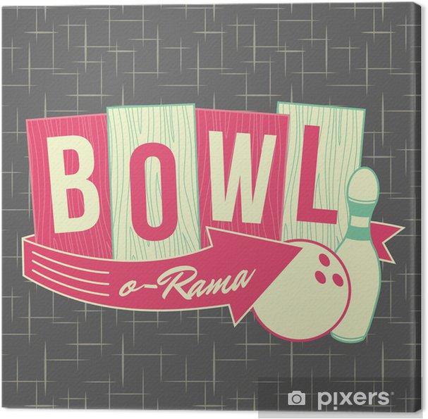 Leinwandbild 1950er Jahre Stil Bowling Logo Design - Fashion