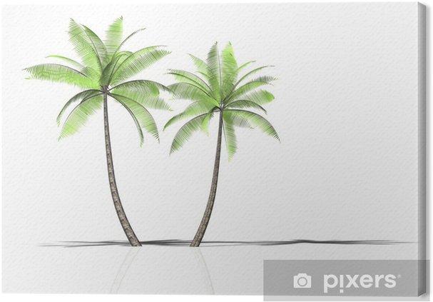 Leinwandbild 2 palmen - Wasser