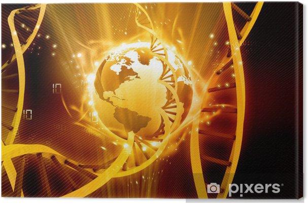 Leinwandbild 3D-Darstellung der Erde mit glühenden DNA - Gesundheit & Medizin
