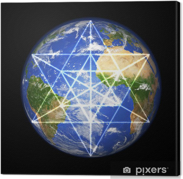 Leinwandbild 3D Erdkugel meine Merkaba Symbol - Esoterik