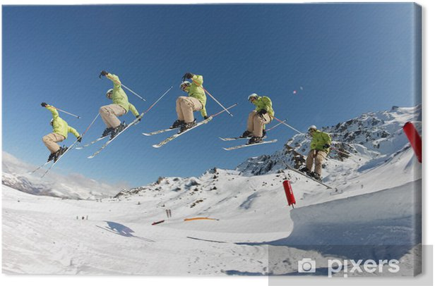 Leinwandbild Abbildung Grube grab - ski saisi sur la face antérieur - Wintersport