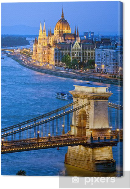 Leinwandbild Abend in Budapest - Stadt