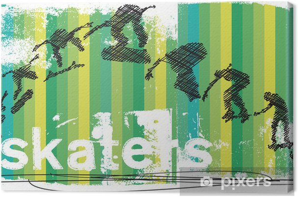 Leinwandbild Abstrakt Skateboarder Springen. Vektor-Illustration - Einzelsportarten