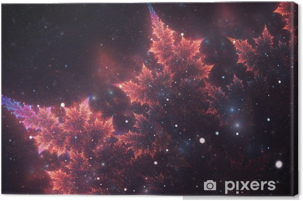 Leinwandbild Abstrakte Fraktale, dekorative funkelnde violett-Orange Zweig mit weichen Unschärfe auf dunklem Hintergrund kosmischen - Grafische Elemente