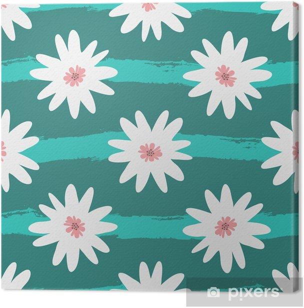 Leinwandbild Abstrakte weiße Blumen auf einem gestreiften Türkishintergrund. Grunge, Skizze, Aquarell. - Pflanzen und Blumen
