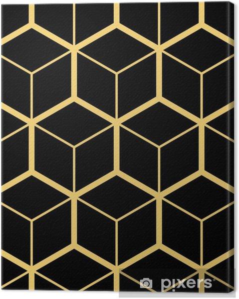 Leinwandbild Abstrakter geometrischer Hintergrund. hexagonales Netz mit eingebetteten Zellen. Vektor nahtlose Abbildung. rhythmisches sich wiederholendes Muster. moderner Stil für geometrische Vorlagen - Grafische Elemente