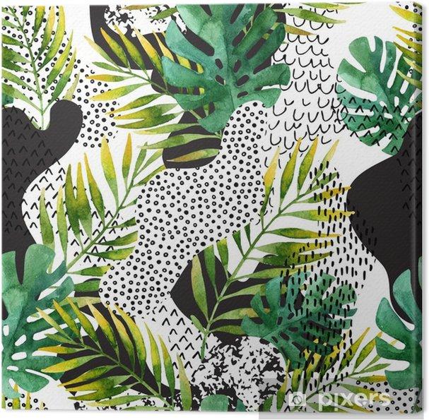 Leinwandbild Abstrakter Sommer tropische Blätter Hintergrund. - Pflanzen und Blumen