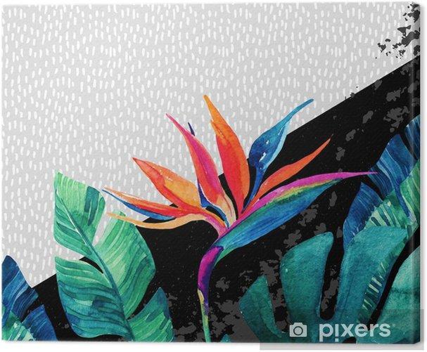 Leinwandbild Abstrakter tropischer Sommerentwurf in der minimalen Art. - Grafische Elemente