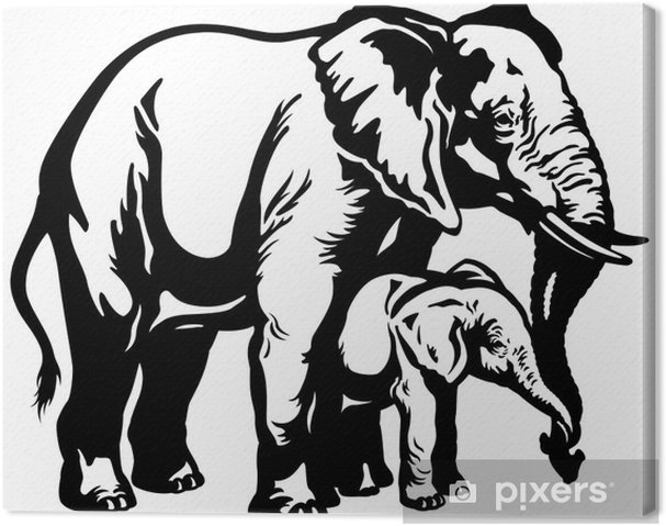Leinwandbild Afrikanischen Elefanten Mutter Mit Baby Schwarz Weiß