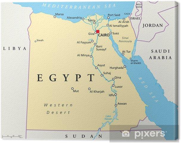 Karte Von ägypten.Leinwandbild ägypten Karte ägypten Landkarte