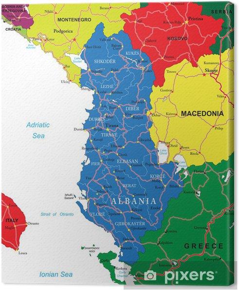 Karte Albanien.Leinwandbild Albanien Karte