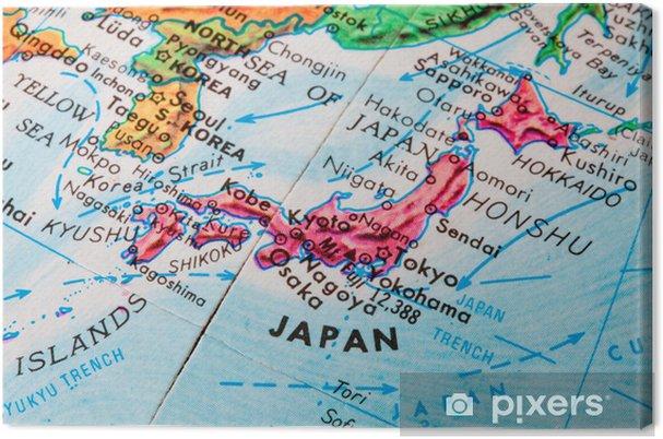 Japan Karte Physisch.Leinwandbild Alte Globus Karte Von Japan
