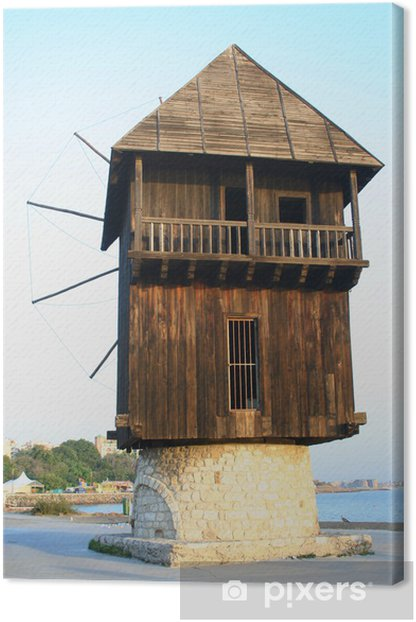 Leinwandbild Alte hölzerne Windmühle - Infrastruktur