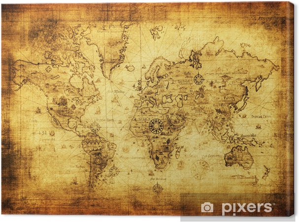Leinwandbild Alte Karte der Welt -
