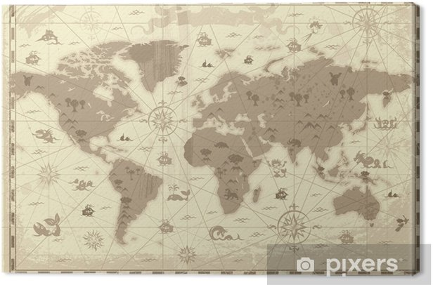 Leinwandbild Ancient World map - Themen