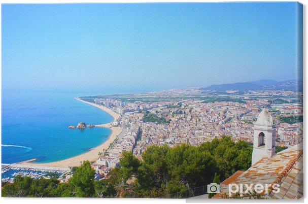 Leinwandbild Ansicht Der Spanischen Strand Von Badeort Blanes Costa
