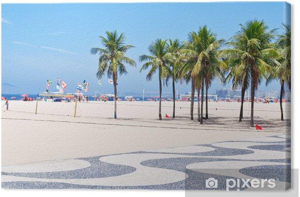 Leinwandbild Ansicht von Copacabana Strand mit Palmen und Mosaik Bürgersteig - Amerikanische Städte