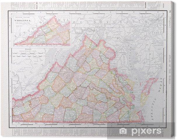 Leinwandbild Antike Vintage Color Map of Virginia, VA, Vereinigte ...
