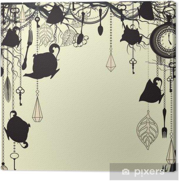 Leinwandbild Antique Hintergrund mit Tee-Party Thema - Texturen