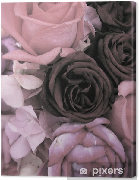 Leinwandbild Antique Strauß rosa Rosen und Pfingstrosen - Fröhlichkeit