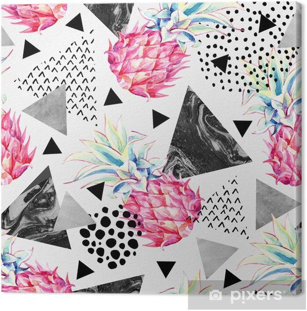 Leinwandbild Aquarell Ananas und texturierte Dreiecke nahtlose Muster. - Grafische Elemente