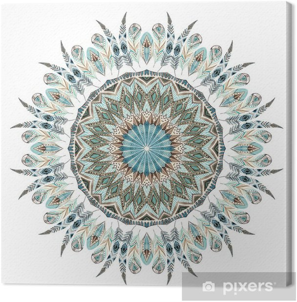 Leinwandbild Aquarell ethnische Federn abstrakte Mandala. - Grafische Elemente