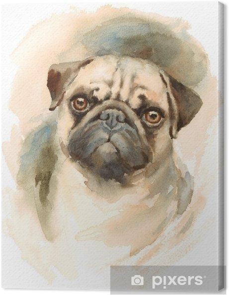 Leinwandbild Aquarell Hund Mops Porträt Handgemalte Abbildung Von Haustieren