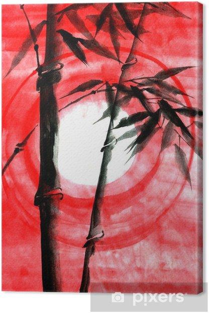 Leinwandbild Aquarell Tinte Japanise Bambus auf Sonnenuntergang - Pflanzen und Blumen