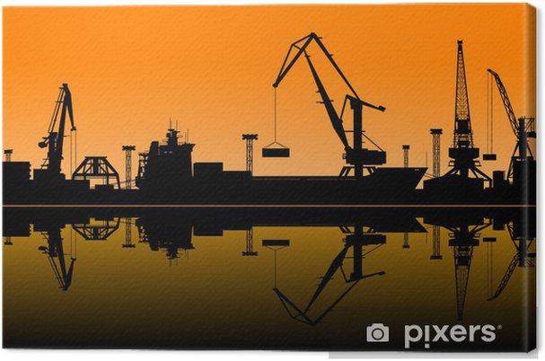 Leinwandbild Arbeiten Kräne im Hafen - Schwerindustrie