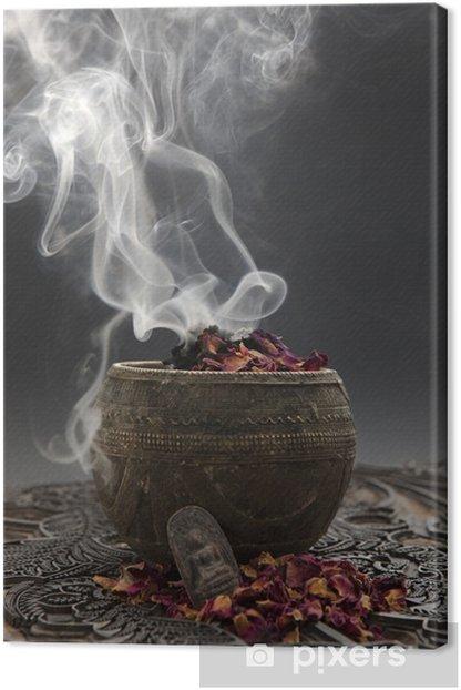 Leinwandbild Aromatherapie mit Rosenblüten und Buddhafigur - Beauty und Körperpflege