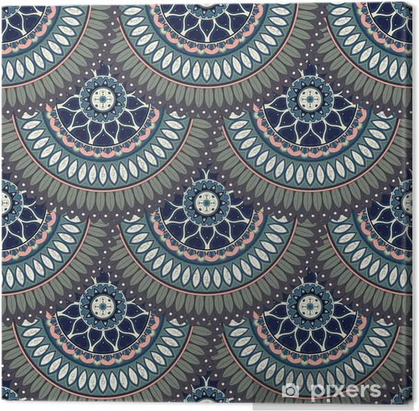 Leinwandbild Aufwändige Blumen nahtlose Beschaffenheit, endlose Muster mit Vintage-Mandala-Elemente. - Grafische Elemente