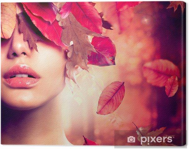 Leinwandbild Autumn Woman Fashion Portrait. Fallen - Themen