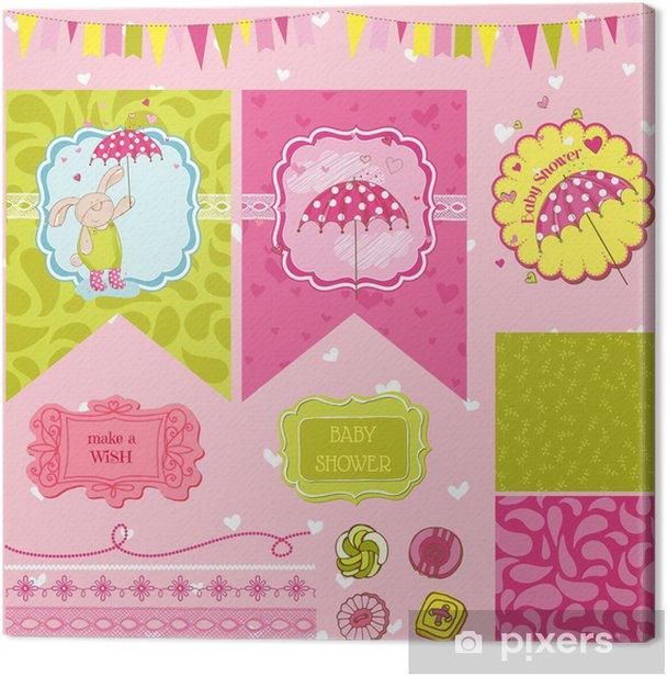 Leinwandbild Baby-Häschen-Shower Theme - Scrapbook Design Elements - in Vektor- - Feste