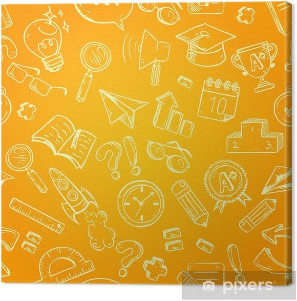 Leinwandbild Back to school seamless pattern - Ausbildung