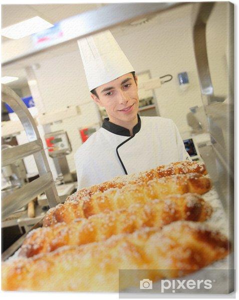 Leinwandbild Bäckerei-Student Vorbereitung Wiener Gebäck - Themen