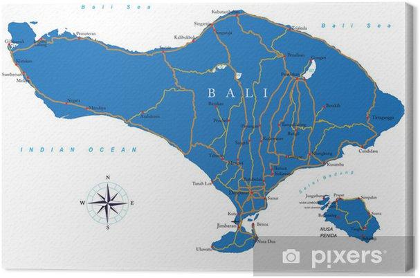 Bali Karte Asien.Leinwandbild Bali Karte
