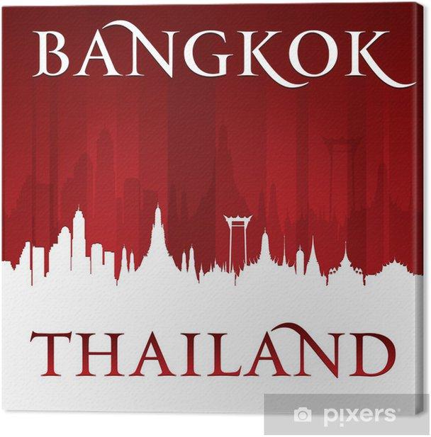 Leinwandbild Bangkok Thailand Skyline Silhouette rotem Hintergrund - Asien