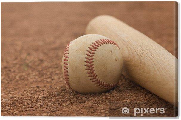 Leinwandbild Baseball & Bat auf dem Infield - Teamsport