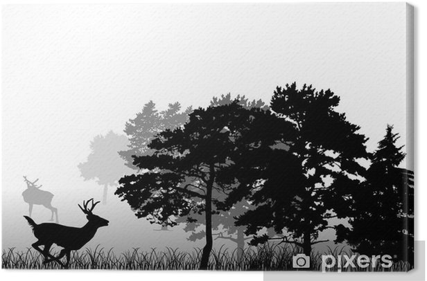 Leinwandbild Bäume und laufen Hirsche Silhouette - Säugetiere