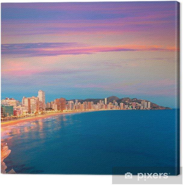 Leinwandbild Benidorm Sonnenuntergang Alicante Playa de Levante Strand Sonnenuntergang in Spanien - Europa