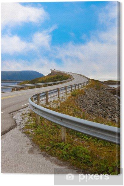 Leinwandbild Berühmte Brücke über die Atlantikstraße in Norwegen - Urlaub
