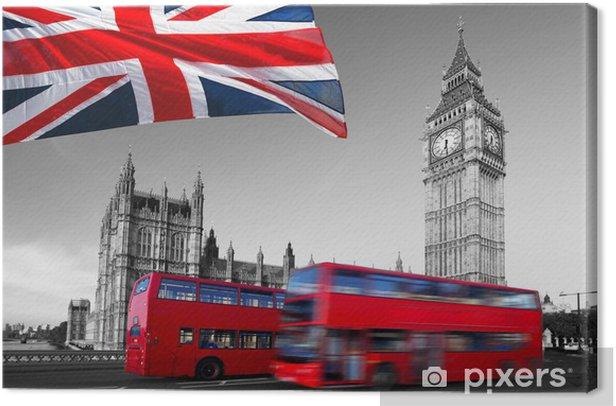 Leinwandbild Big Ben mit Stadtbussen und Flagge von England, London - Themen