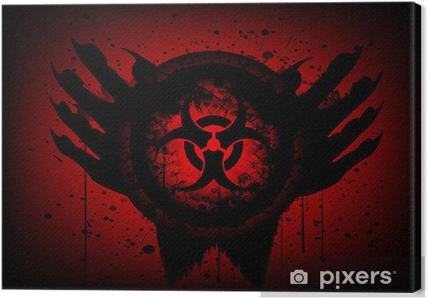 Leinwandbild BIOHAZARD Symbol auf Kreis und Hand abstrakten Hintergrund - Themen
