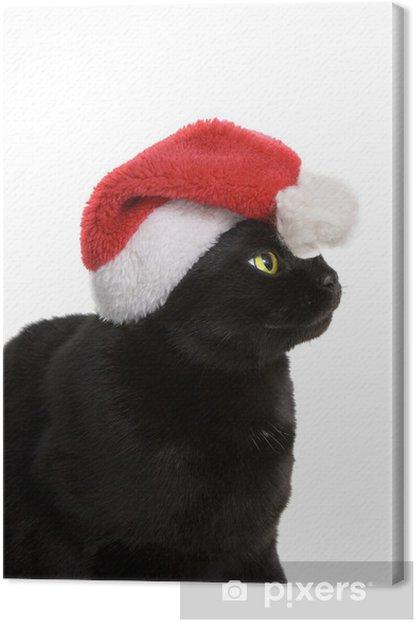 Leinwandbild Black Cat Santa - cute Weihnachten Katze auf weißem Hintergrund - Internationale Feste