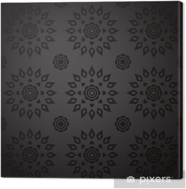 Leinwandbild Black Seamless Thai-Kunst-Muster. - Hintergründe