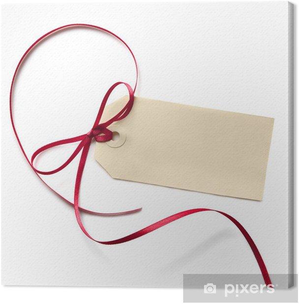 Leinwandbild Blank Gift Tag mit Red Ribbon - Grußkarten