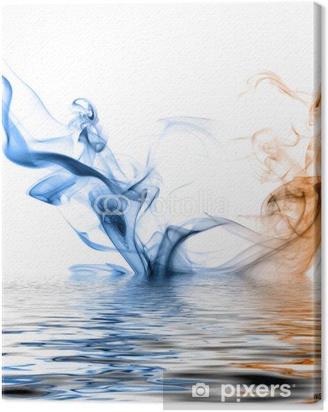 Leinwandbild Blau und orange Rauch spiegelt sich in der Wasseroberfläche. - Themen
