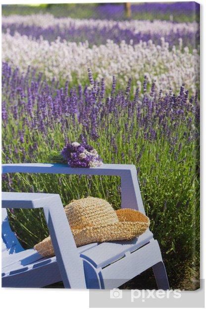 Leinwandbild Blauer Stuhl in einem lila Feld von Lavendel - Themen